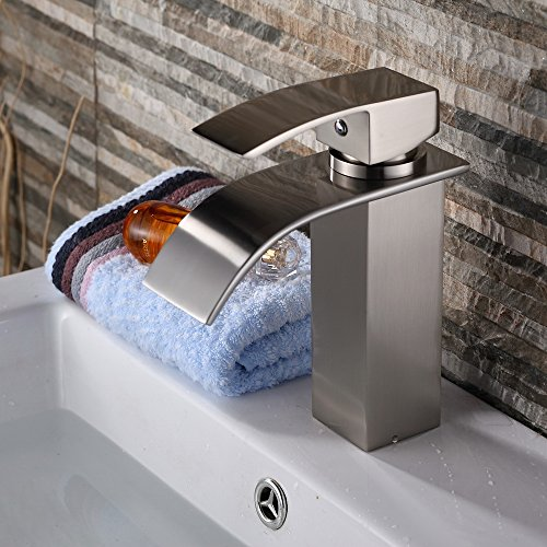 Yodel Single Handle Waterfall Bathroom Vanity Sink Faucet (Brushed Nickel)