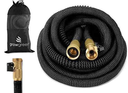 GrowGreen Heavy Duty 50' Feet Expandable Hose Set, Strongest Garden Hose On Earth. with All Solid...