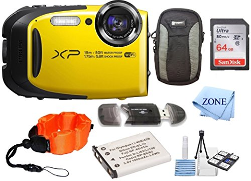 Fujifilm FinePix XP80 Waterproof Digital Camera with 2.7-Inch LCD + 64GB Memory Card+ Wrist Floating...