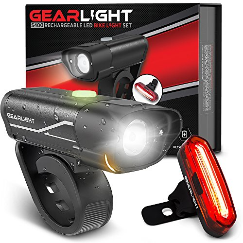 GearLight S400 Rechargeable LED Bike Light Set - High Lumen Front and Back Cycling Safety Lights -...