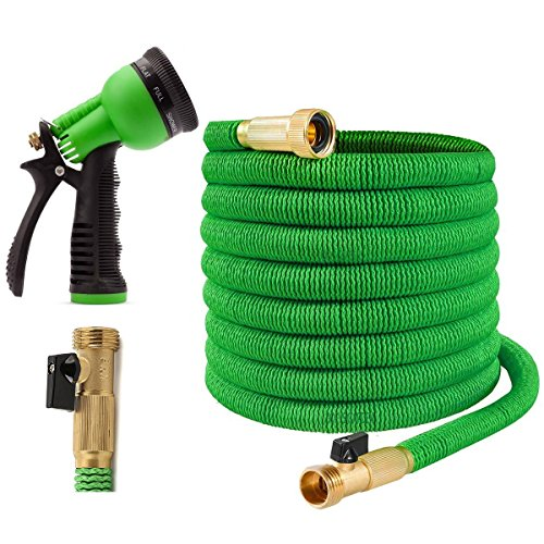 Joeys Garden Expandable Garden Hose - 50 Feet - Extra Strong Stretch Material with Brass Connectors...