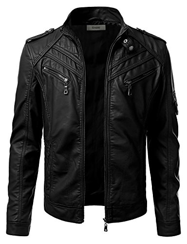 IDARBI Mens Long Sleeve Premium Stand Collar Zip Up Faux Leather Jacket Black 2XL