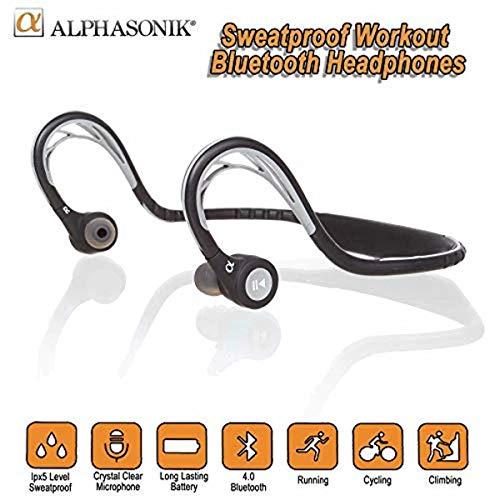 Alphasonik ASE300BT Bluetooth Headphones, V4.0 Wireless Sport Headphones, Sweatproof Running Headset...