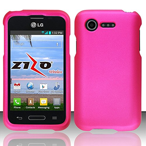LG Optimus Fuel L34C Pink Rubberized Plastic Cover Snap On Hard Rugged Gel Case Cell Phone Shield...