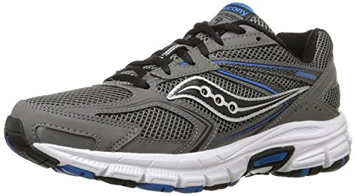 Saucony Men's Cohesion 9 Running Shoe, Grey/Black/Royal, 12 M US