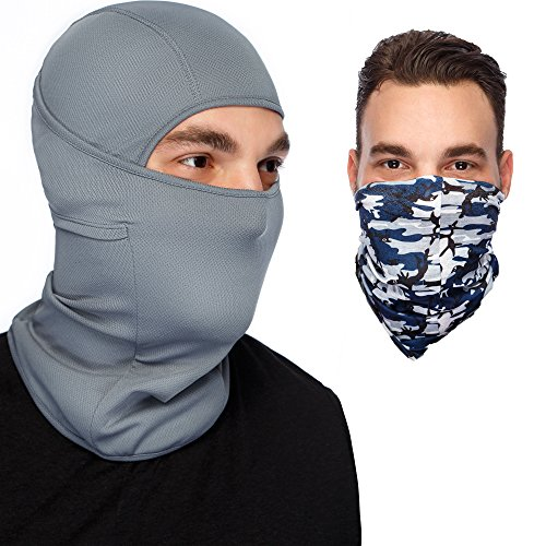 Grey Balaclava Ski Mask :Full Face Mask + Versatile Headband - Neckwarmer - Motorcyle Mask -...