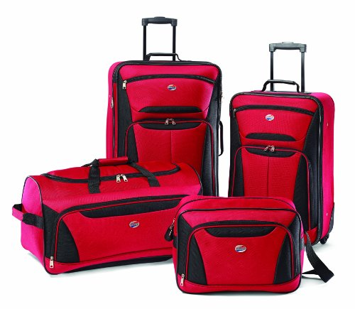 American Tourister Fieldbrook II Softside Upright Luggage Set, Red/Black, 4-Piece (tote/DF/21/25)