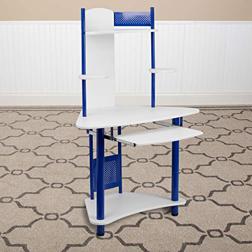 Flash Furniture NAN-JN-2705-BL-GG Corner Computer Desk with Hutch, White/Blue