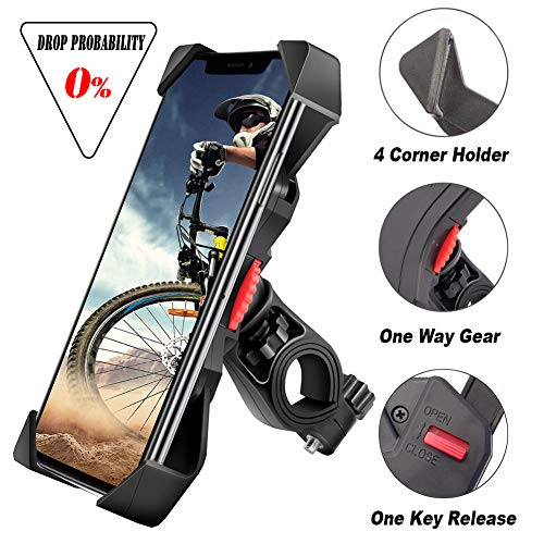 visnfa Bike Phone Mount Anti Shake and Stable Cradle Clamp with 360° Rotation Bicycle Phone...