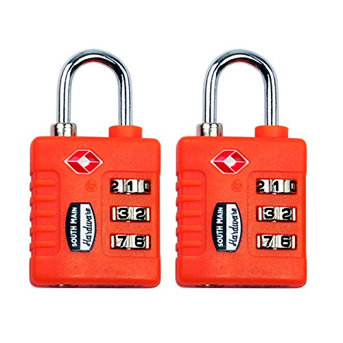 South Main Hardware 810110 TSA-Accepted Resettable Luggage Lock (2 Pack), Purple