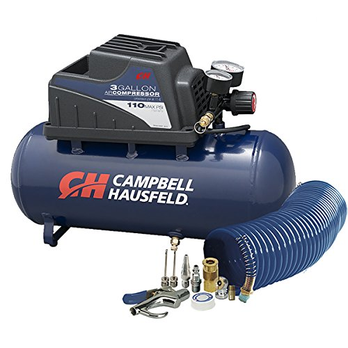 Air Compressor, Portable, 3 Gallon Horizontal, Oilless, w/ 10 Piece Accessory Kit Including Air Hose...