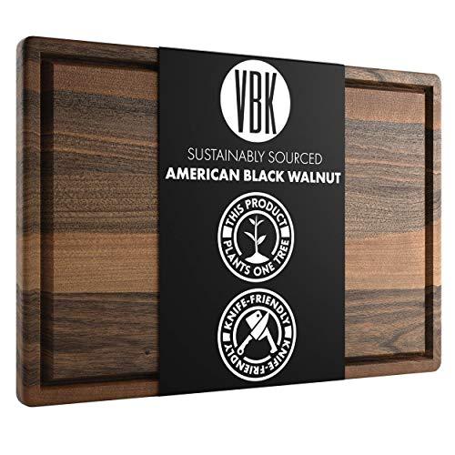 Large Walnut Wood Cutting Board by Virginia Boys Kitchens - 17x11 American Hardwood Chopping and...