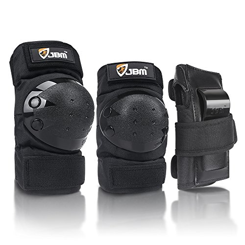 JBM international Adult / Child Knee Pads Elbow Pads Wrist Guards 3 In 1 Protective Gear Set, Black,...