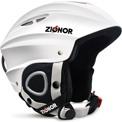 ZIONOR Lagopus H1 Ski Snowboard Helmet for Men Women - Air Flow Control Adjustable Fit White (Large)