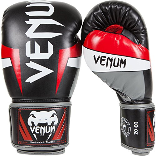 Venum Elite Boxing Gloves, Black/Red/Grey, 14-Ounce