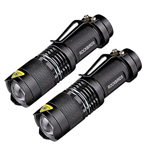 2 Pack Flashlights, ROCKBIRDS LED Flashlight with Belt Clip, Fluorescent Ring, Zoomable, High Lumen,...