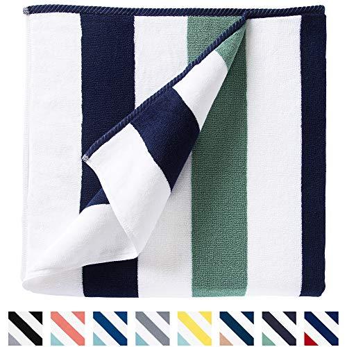 Oversize Plush Cabana Towel by Laguna Beach Textile Co | Navy and Seafoam Green| 1 Classic, Beach...