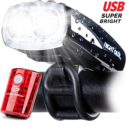 Cycle Torch Night Owl USB Rechargeable Bike Light Set, Perfect Commuter Safety Front and Back...