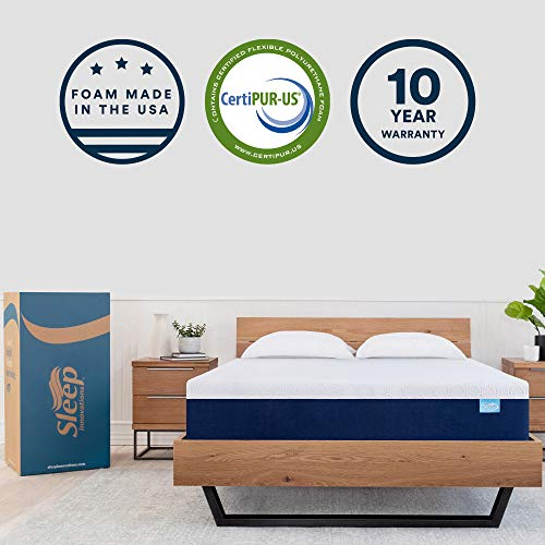 Sleep Innovations Shiloh 12-inch Memory Foam Mattress, Bed in a Box Soft Cover, Made in the USA,...