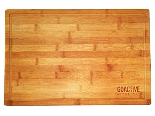 Go Active Lifestyle Bamboo Cutting Board with Drip Groove, 18 X 12-Inch