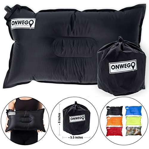 ONWEGO Camping Pillow/Small Inflatable Pillow- 20in x 12in, 10.5oz, Self Inflating Air Pillow,...