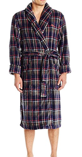 Tommy Bahama Men's Printed Plush Robe, Big Shore Plaid, Small/Medium