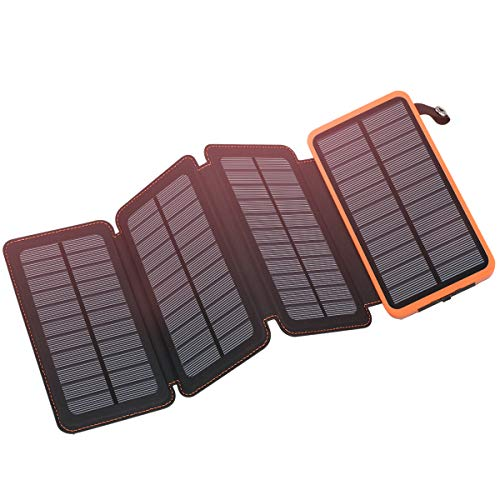 Solar Charger 25000mAh, FEELLE Solar Power Bank with 4 Solar Panels Outdoor Waterproof Solar Phone...