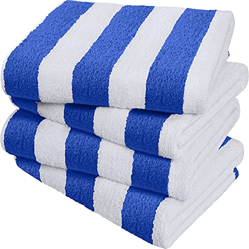 Utopia Towels Cabana Stripe Beach Towels, Blue, (30 x 60 Inches) - 100% Ring Spun Cotton Large Pool...