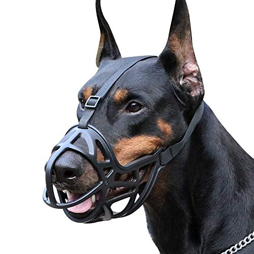 Mayerzon Dog Muzzle, Breathable Basket Muzzle to Prevent Barking, Biting and Chewing, Humane Muzzle...