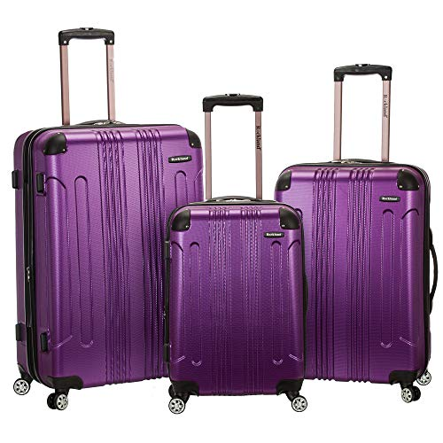 Rockland London Hardside Spinner Wheel Luggage, Purple, 3-Piece Set (20/24/28)