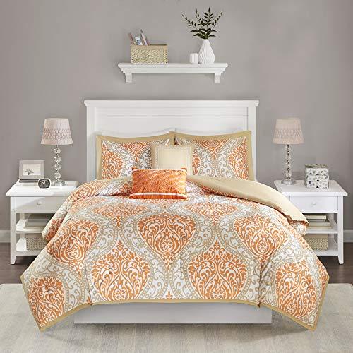 Intelligent Design Senna Comforter Set Full/Queen Size - Orange/Taupe, Damask – 5 Piece Bed Sets...