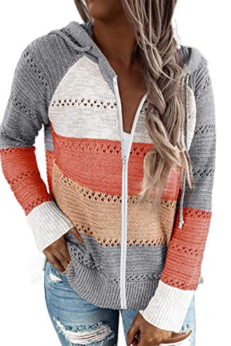 BTFBM Women Zip Up Striped Hoodies Jackets Color Block Print Long Sleeve Drawstring Stretchy Casual...