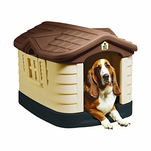Pet Zone Cozy Cottage Weather-Resistant Dog House. (Durable, Double Walled Plastic Dog House)...