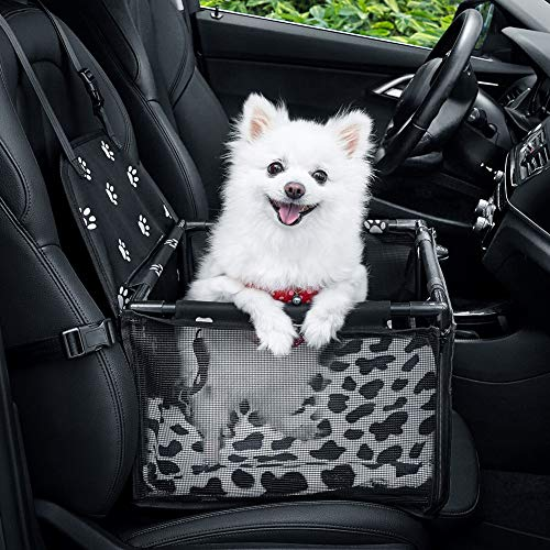 GENORTH Dog Car Seat Upgrade Deluxe Washable Portable Pet Car Booster Seat with Clip-On Safety Leash...