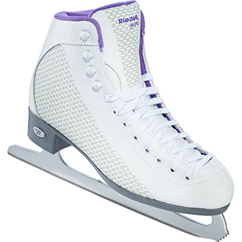 Riedell 113 Sparkle/Womens Beginner/Soft Figure Ice Skates/Color: White and Violet/Size: 6