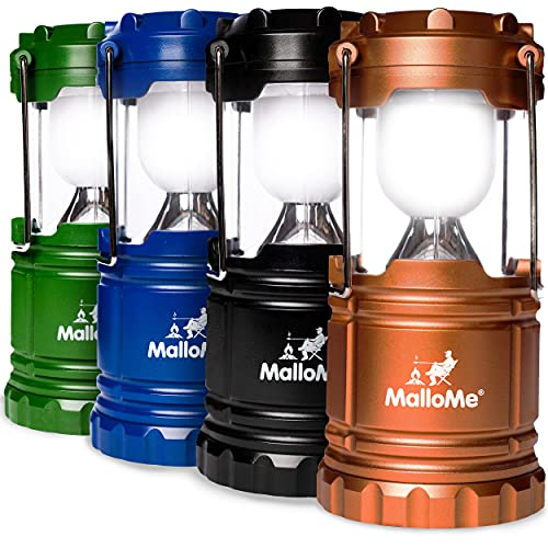 MalloMe LEDs Camping Lantern Flashlights 4 Pack - Super Bright - Portable Outdoor Lights...