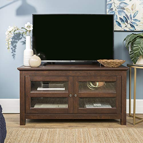 Walker Edison Furniture Simple Wood Stand for TV's up to 48' Living Room Storage, Traditional Brown