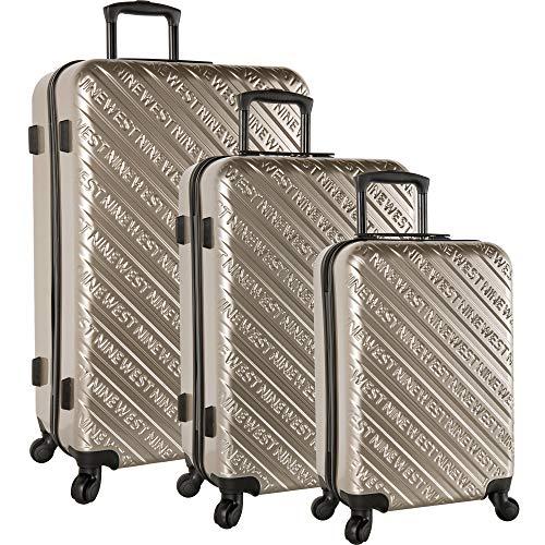 Nine West Noelle 3 Piece Hardside Spinner Luggage Set (Black)