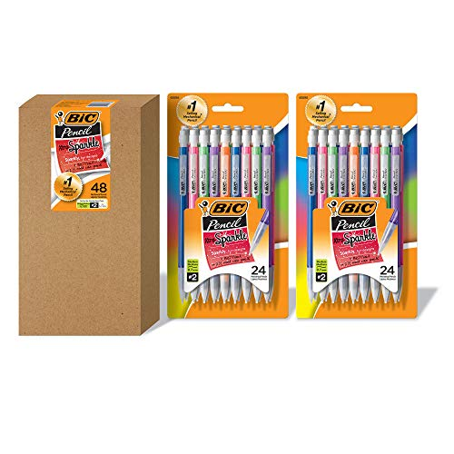 BIC Xtra Sparkle Mechanical Pencil, Colorful Barrel, Medium Point (0.7 mm), 48-Count, Refillable...