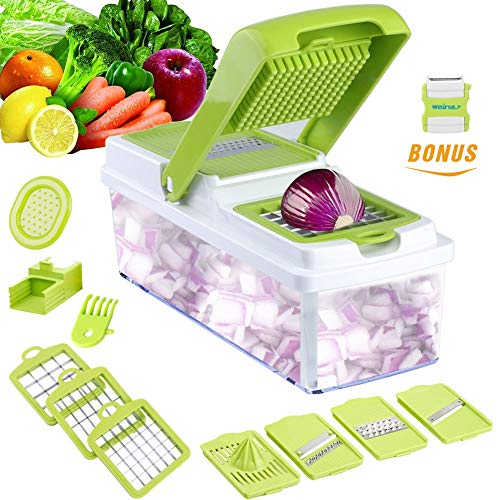Vegetable Slicer Dicer WEINAS Food Chopper Cuber Cutter, Cheese Grater Multi Blades for Onion Potato...