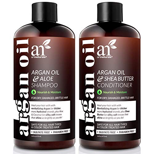 ArtNaturals Organic Moroccan Argan Oil Shampoo and Conditioner Set - (2 x 16 Fl Oz / 473ml) -...