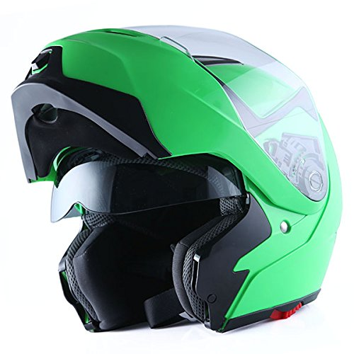 1Storm Motorcycle Street Bike Modular/Flip up Dual Visor/Sun Shield Full Face Helmet (MattBlack,...