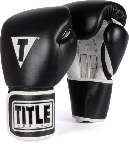 TITLE Boxing Pro Style Leather Training Gloves, Black/White, 12-Ounce