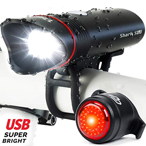 Cycle Torch Shark 500 USB Rechargeable Bike Light – Headlight & Tail Light Set- Fits All Bicycles,...