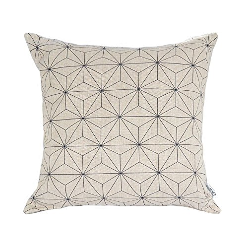 Elviros Cotton Linen Home Decorative Throw Pillow Case Cushion Cover for Sofa Couch, Black Geometric...