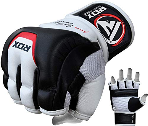 RDX MMA Gloves Sparring Martial Arts Grappling Cowhide Leather Training UFC Cage Fighting Combat Gel...