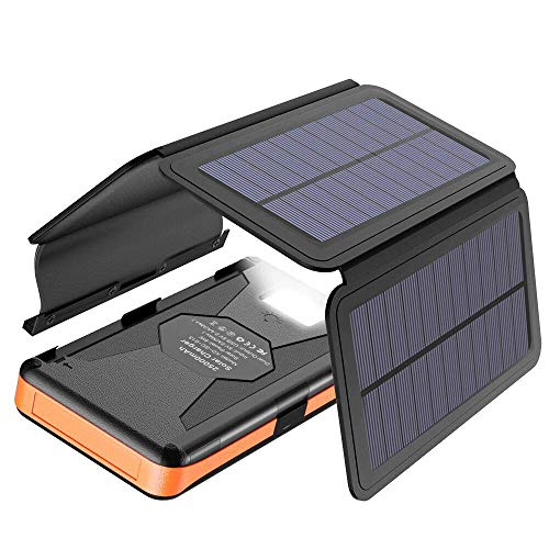 Solar Charger X-DRAGON 25000mAh Portable Power Bank with 4 Solar Panels Waterproof External Backup...