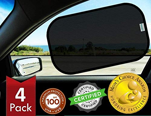 Kinder Fluff Car Window Sunshades (4X)-The Only Certified Sunshade to Block 99.79% UVA & 99.95% UVB...