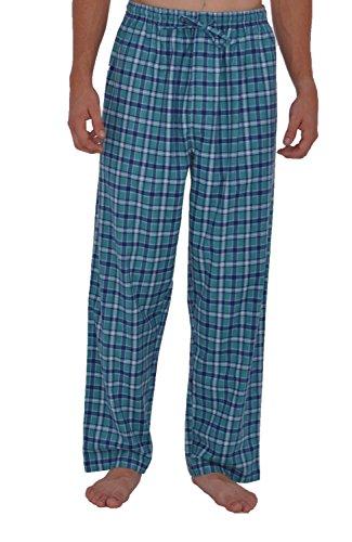 Alexander Del Rossa Men's Lightweight Flannel Pajama Pants, Long Cotton Pj Bottoms, Medium Aqua...