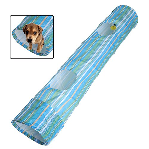 Pecute Pet Tunnel Puppy Dog Fun Collapsible Pet Obedience Agility Training Tunnel Striped Cave Chute...